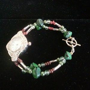 Jewelry - Ladie's Malachite Wrist Watch